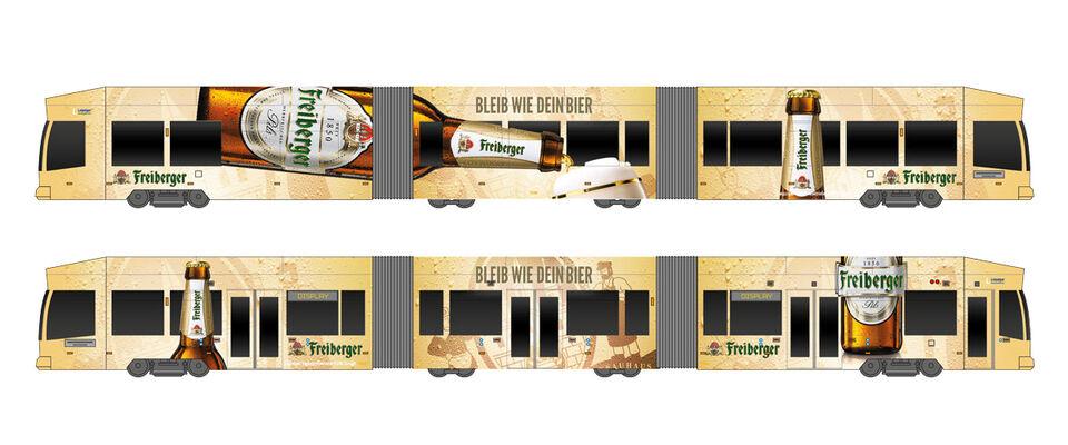 Straßenbahn im Freiberger Pils Design