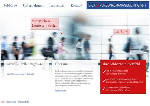 Website und Online-Jobbörse für Dick Personalmanagement GmbH
