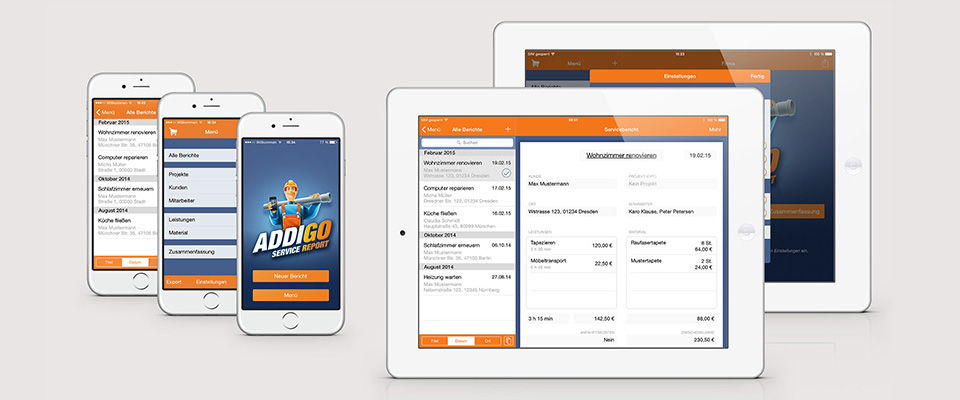 Addigo Service Report App Smartphone