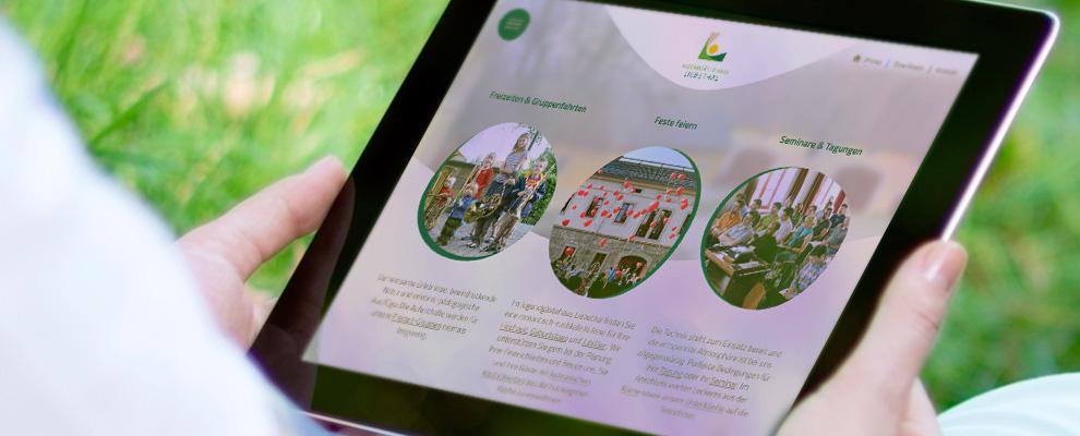 Tablet Website Jugendgästehaus Liebethal