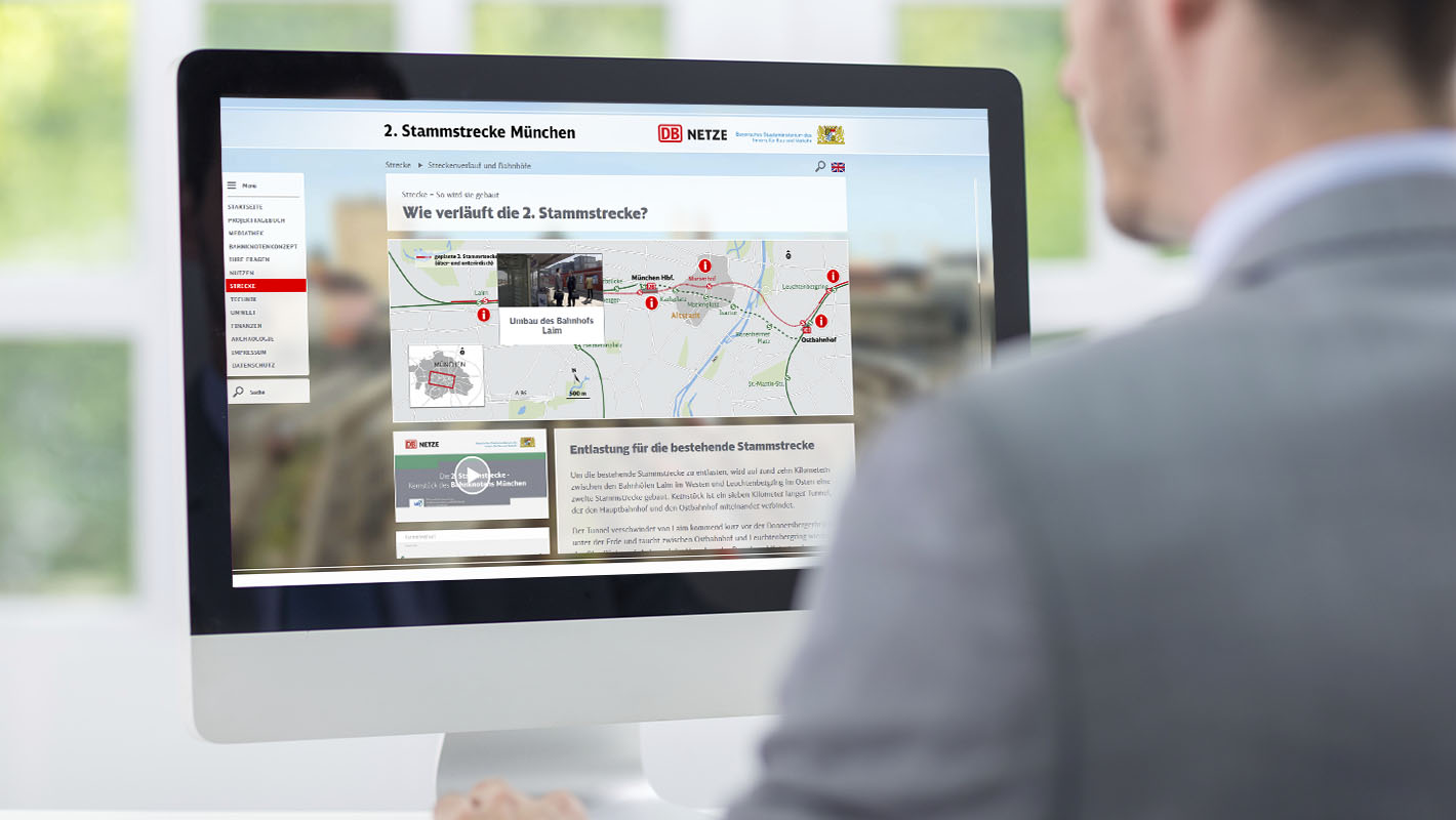 Website 2. Stammstrecke Deutsche Bahn