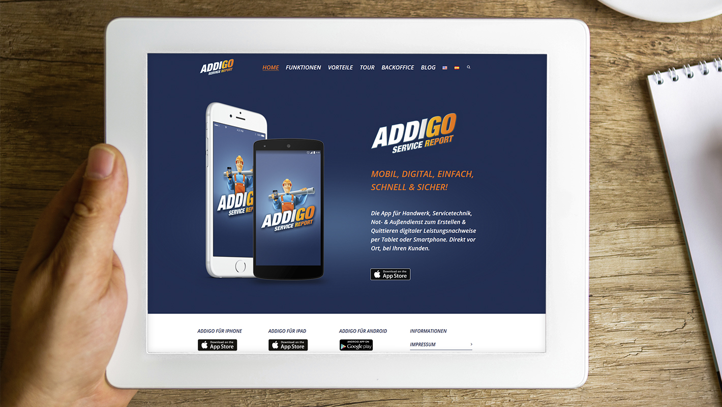 Website Addigo Service Report App