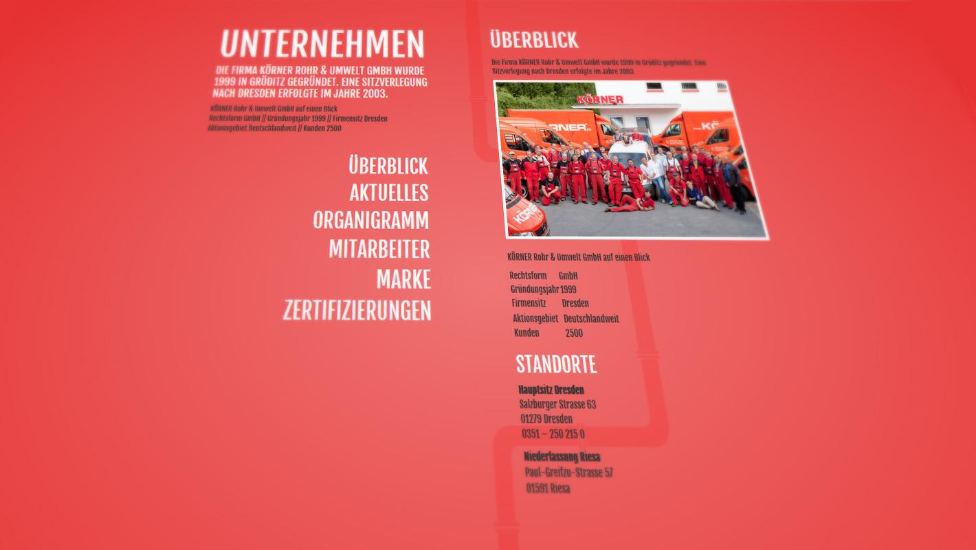 Benutzerfreundliche Website Körner Rohr und Umwelt