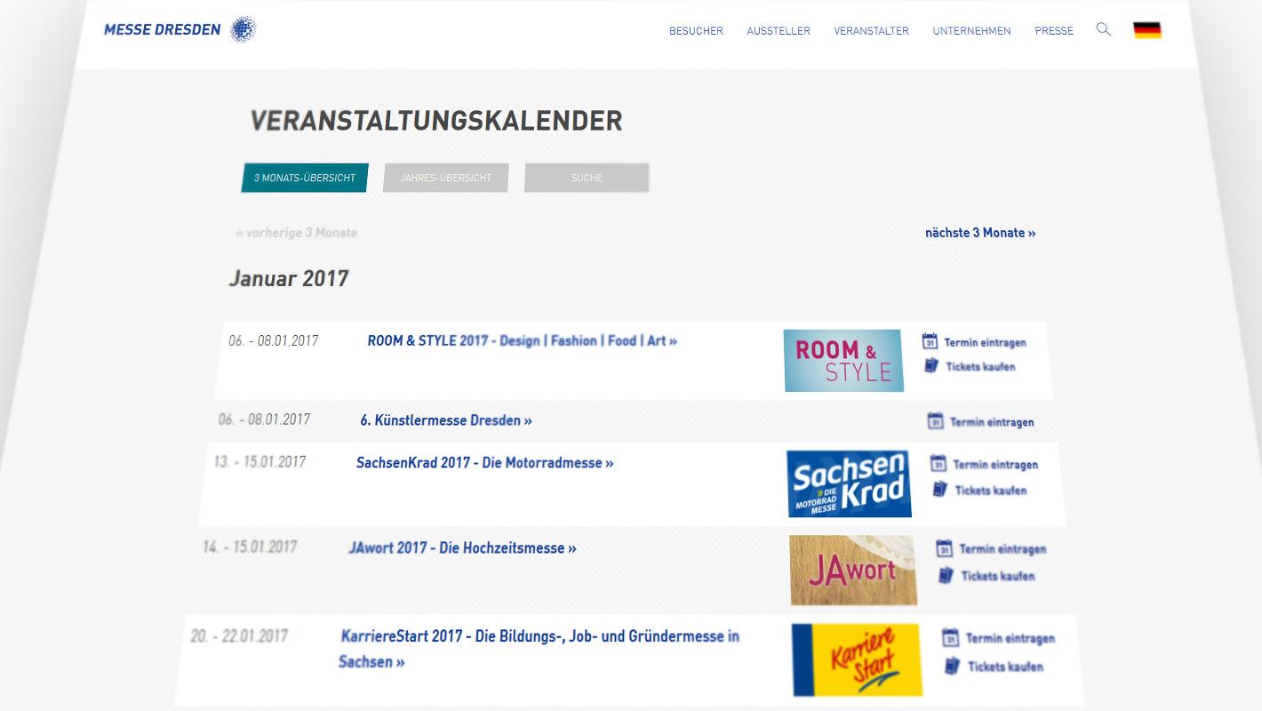 Website Messe Dresden Veranstaltungskalender