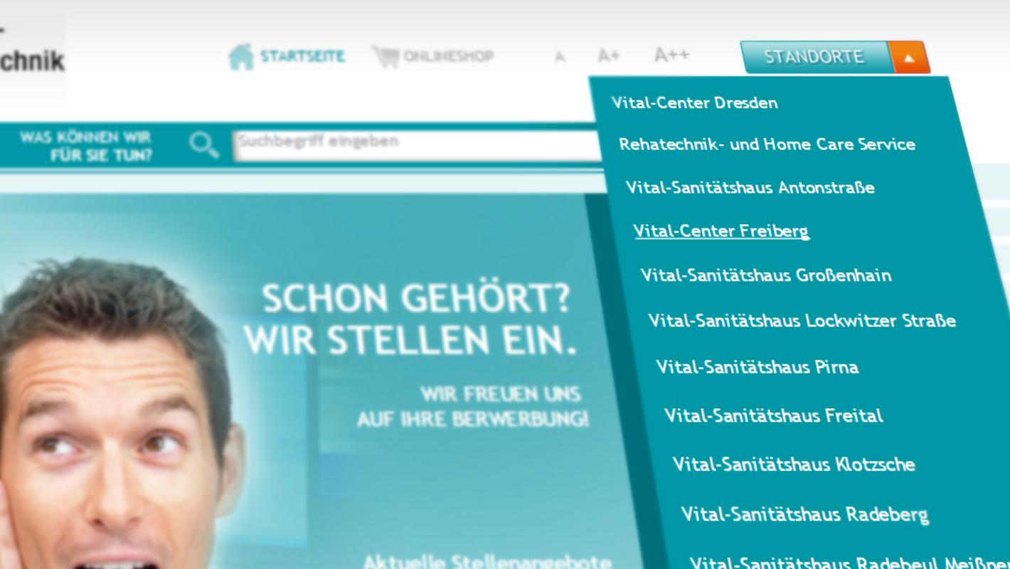 Standorte Website Orthopädie und Rehatechnik Dresden