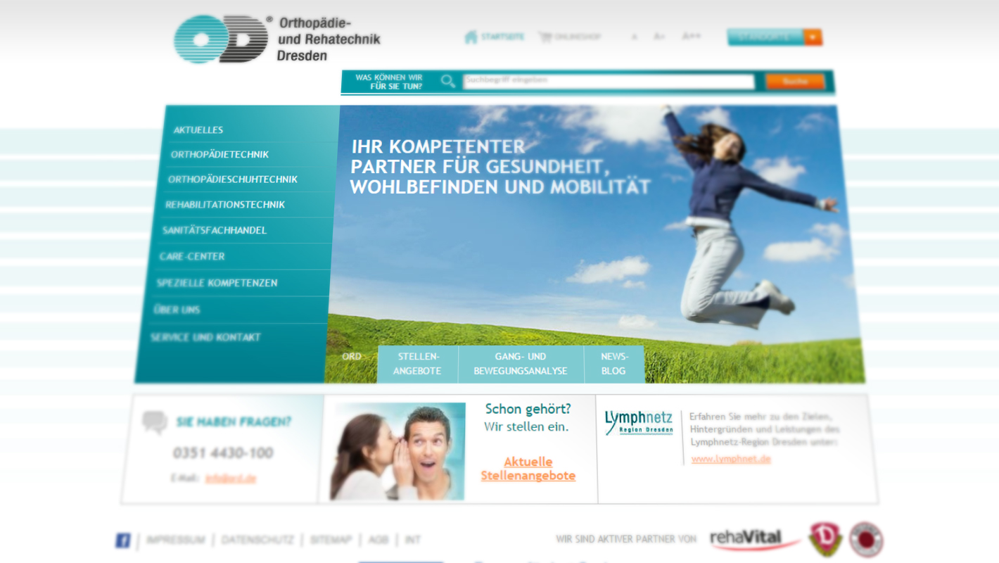 Website Corporate Design Orthopädie und Rehatechnik Dresden