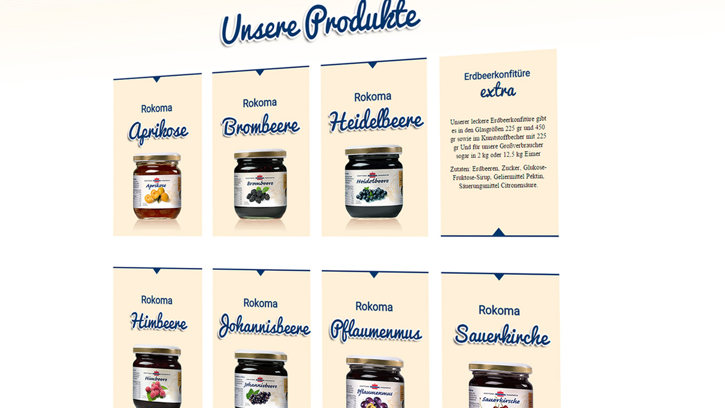 Rokoma Website Produkte