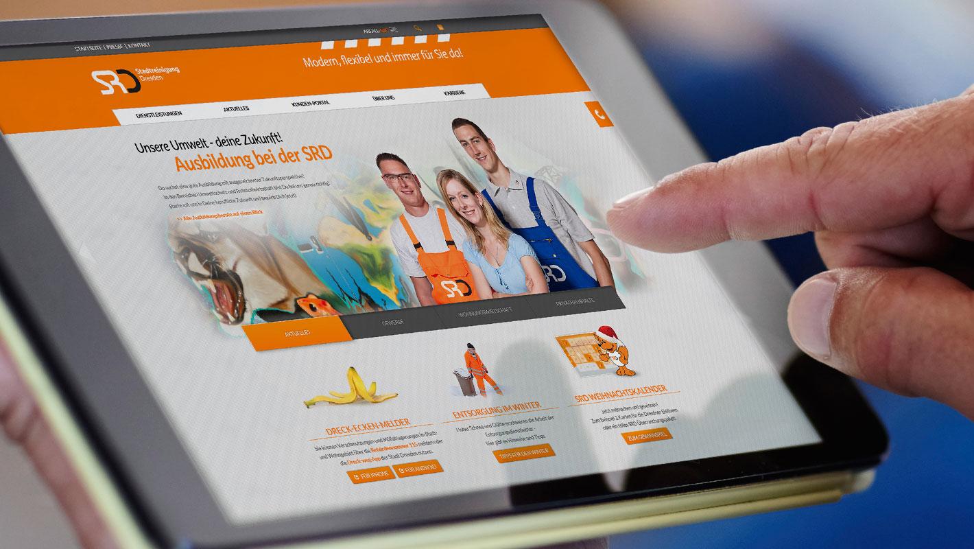 Responsive Website Tablet Stadtreinigung Dresden