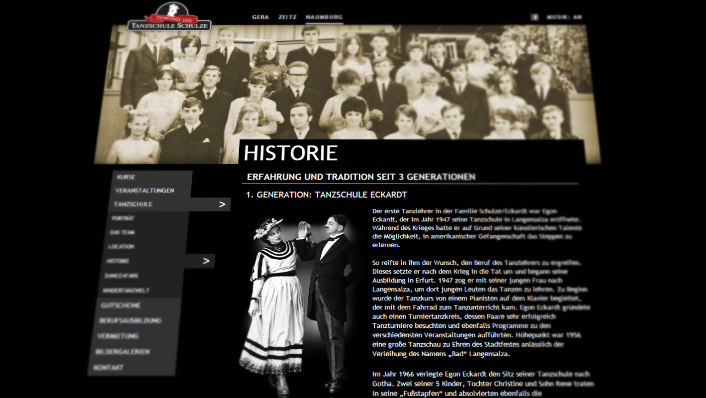 Tanzschule Schulze Website Historie