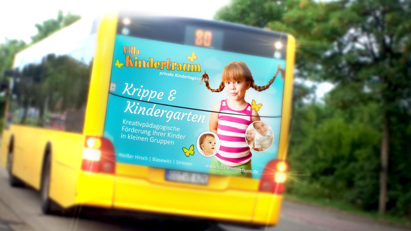 Außenwerbung Bus Villa Kindertraum