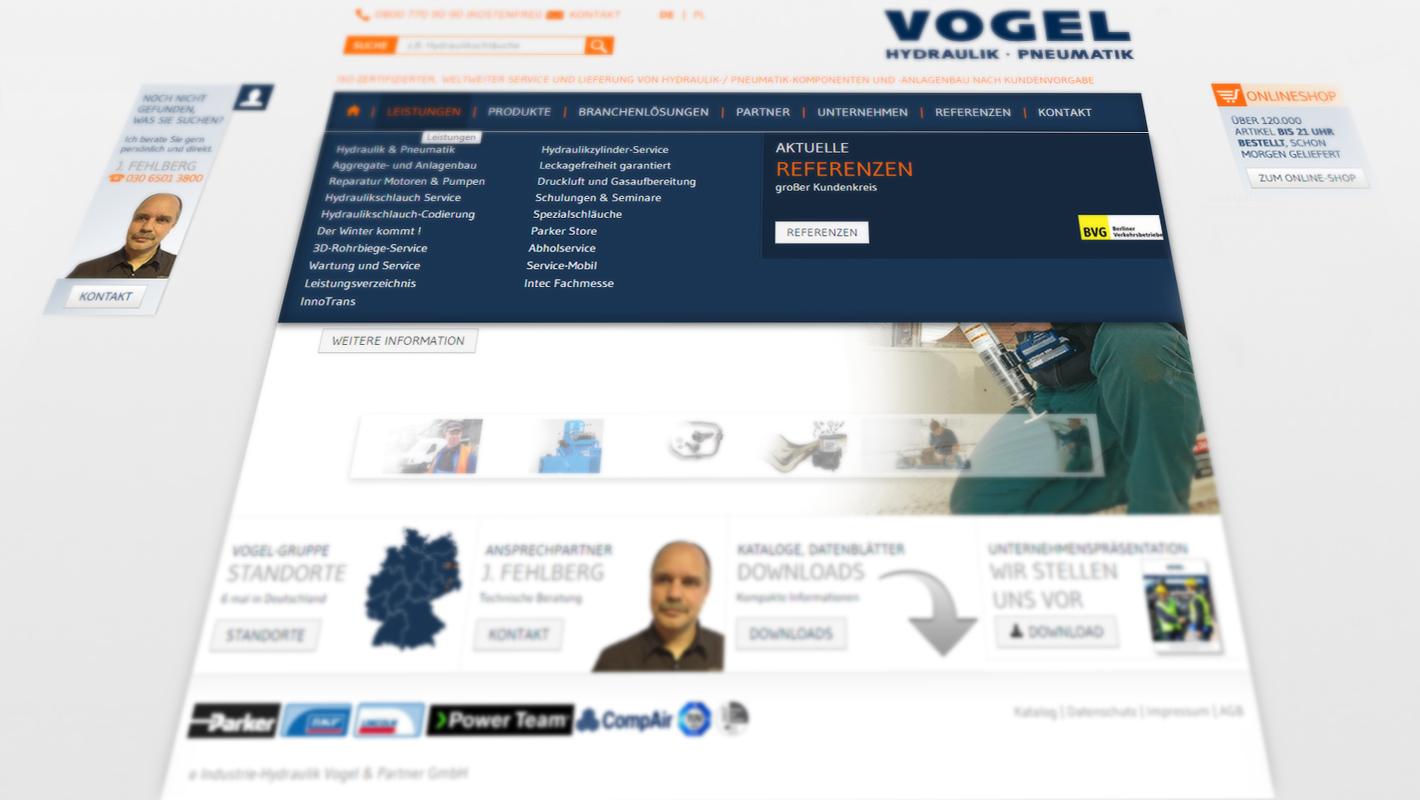 Vogel Gruppe Website Responsive Navigation