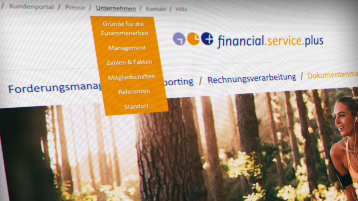 Navigation Corporate Website Financial Service Plus
