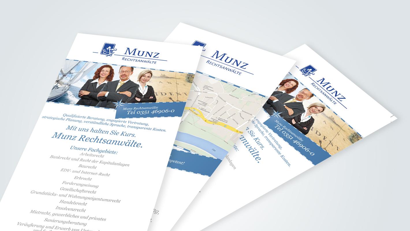 Corporate Identity Flyer Munz Rechtsanwälte