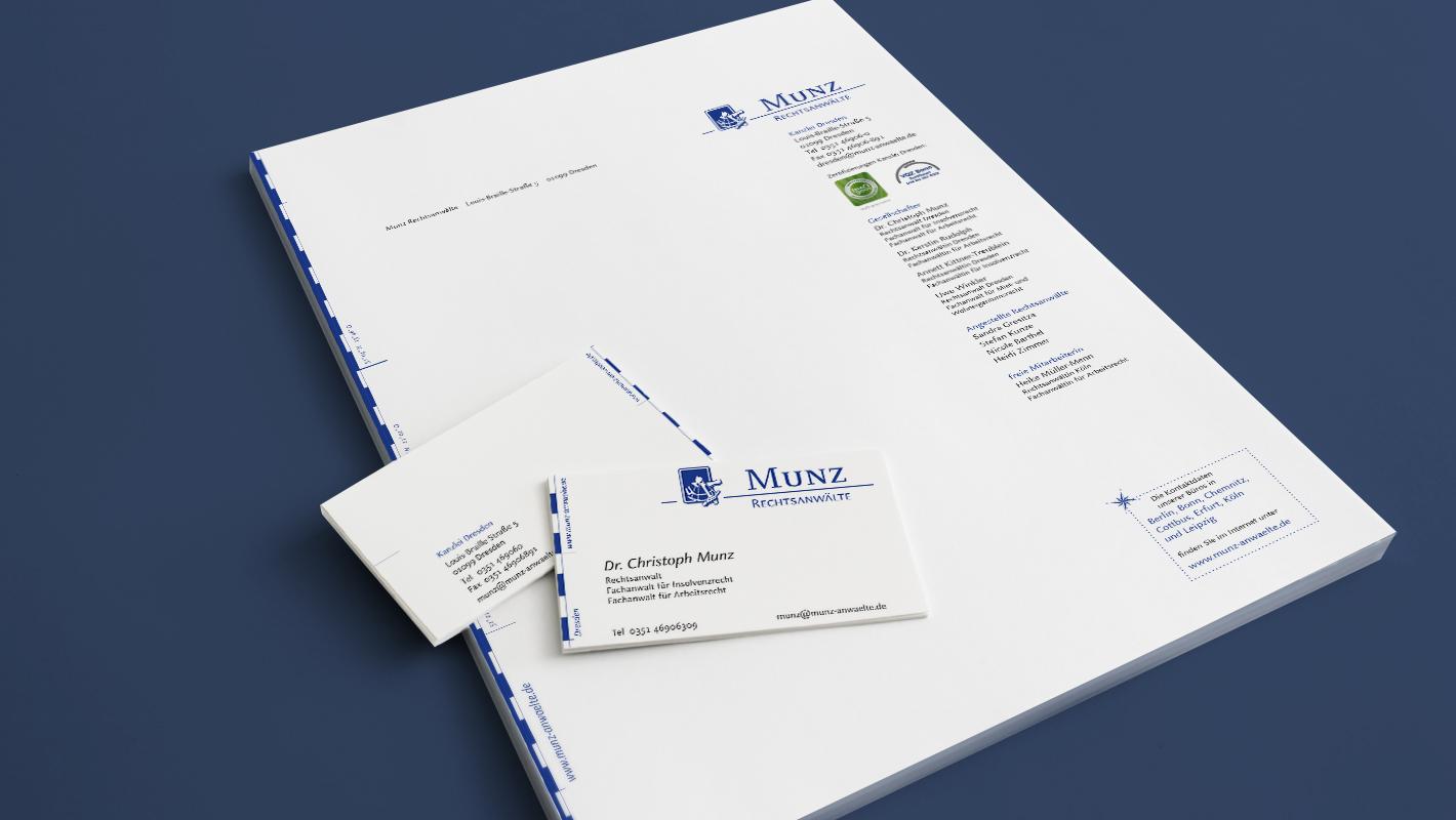 Corporate Identity Briefbogen Visitenkarte Munz Rechtsanwälte