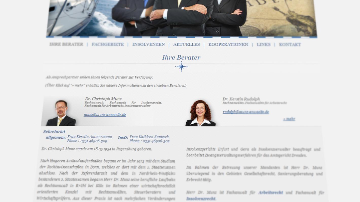 Website Munz Rechtsanwälte Dresden