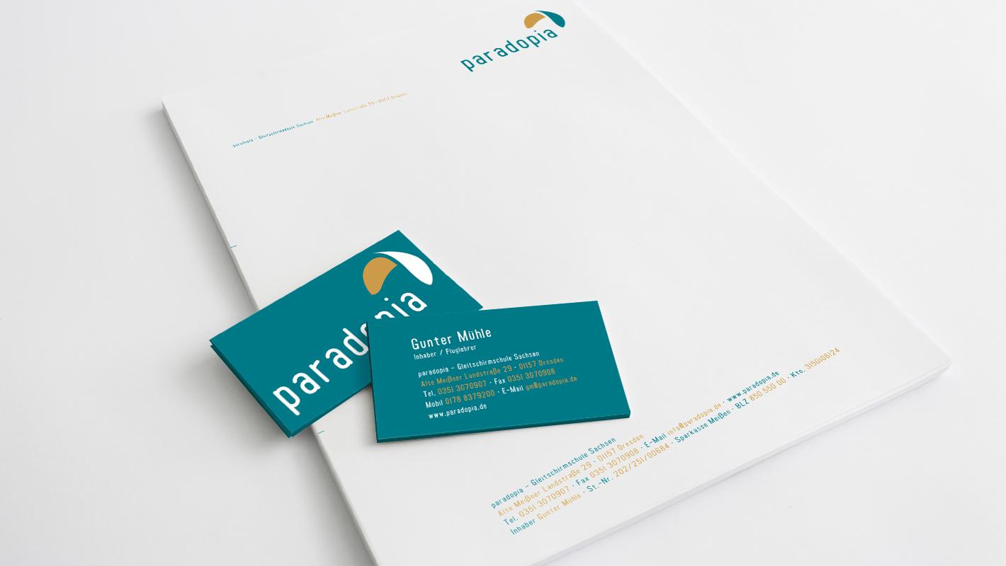 Corporate Identity Briefbogen Visitenkarten Paradopia