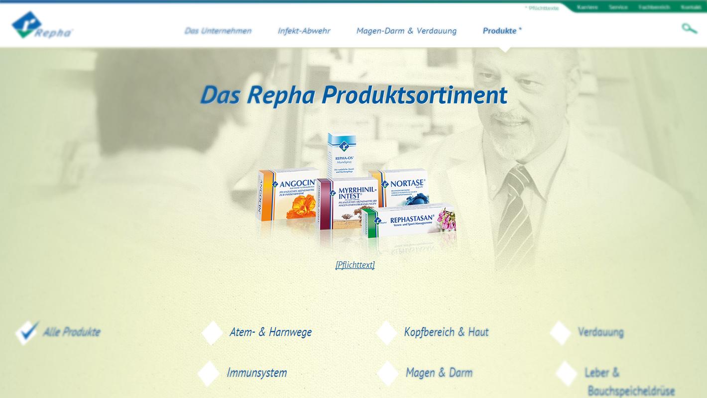 Produkte-Website Repha
