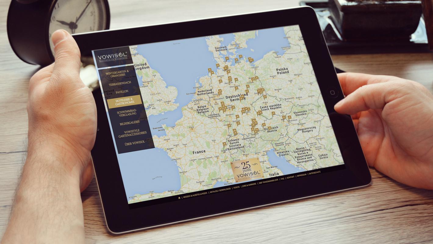 Kartendarstellung Website Vowisol