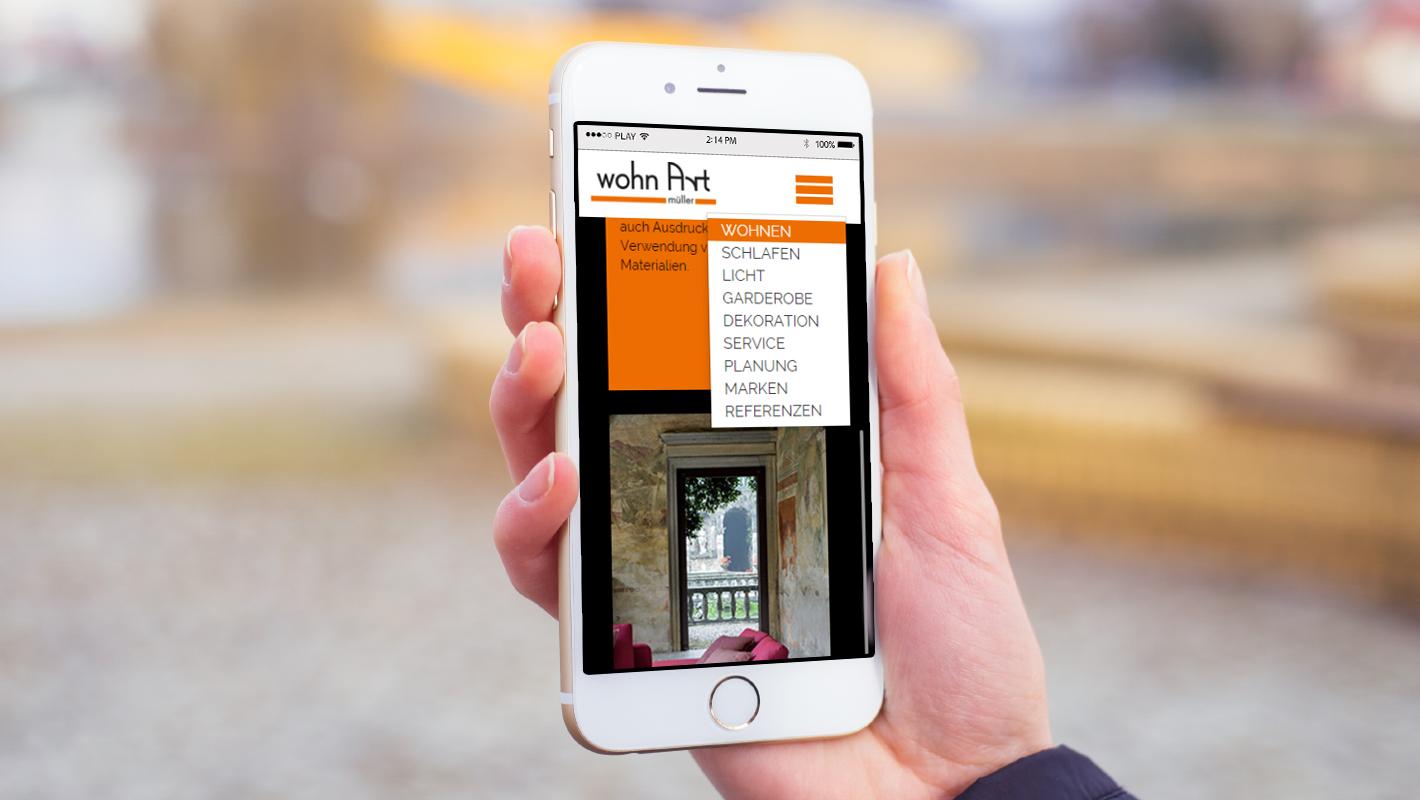 wohn Art müller website mobil menü