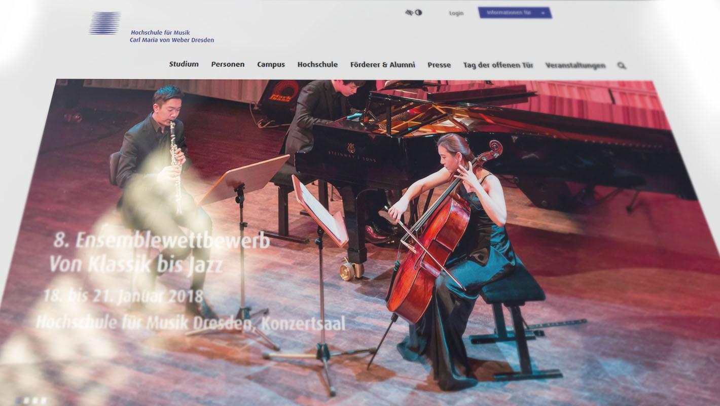 CMS Typo3 Website Hochschule für Musik Dresden
